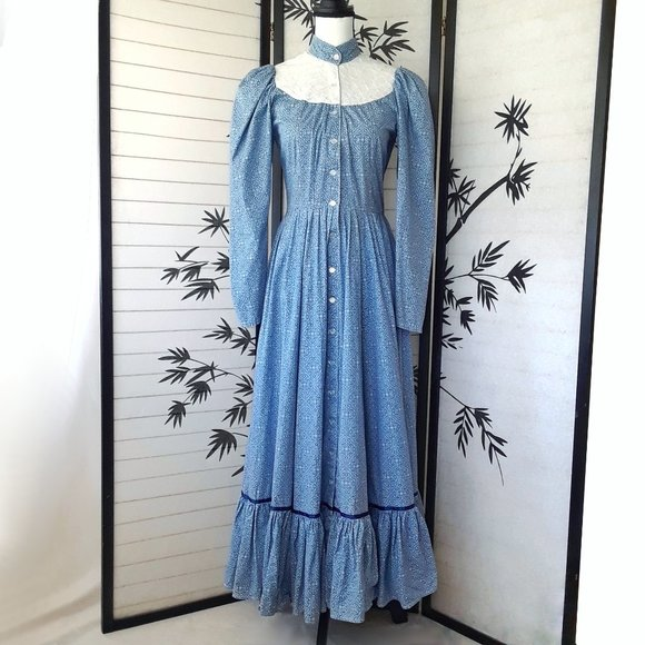 Blue shimmery handmade Vintage dress from the 80/'s with imperfections Small